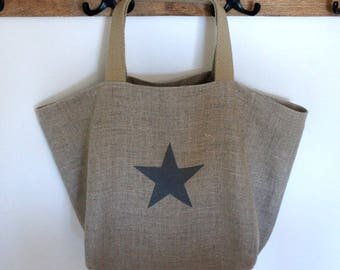Gray natural linen with a star tote bag