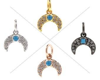 Horns Pendants, Micro Pave Horn Pendant, Cz Pave Horn, Horn Necklace, Crecent Jewelry, Crescent Moon Pendant, 9x8.5mm, CB19H