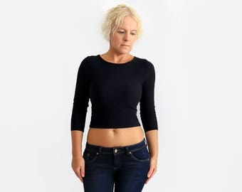 Black Crop Top, Long Sleeve Crop Top, Yoga Top, Black Party Top, Festival Shirt, Boho Top, Minimalist Top, Fitted Top, Black Belly Shirt