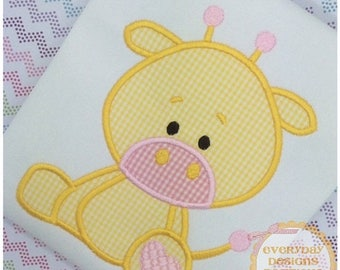 ON SALE Stuffed with Love Giraffe Machine Embroidery Applique Design