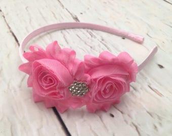 Pink Shabby Chic Headband, Pink Flower Headband, Light Pink Hair Accessories, Girl Headband, Easter Flower Headband