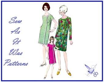 "1960s Vogue 6987 Low Neckline Sheath Dress Asymmetrical Front Button Closure Band Trim Sleeves Vintage Sewing Pattern Size 12 Bust 32"" 83cm"