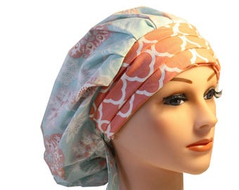 Scrub Cap Surgical Medical Chemo Chef Vet Nurse Hat Banded Bouffant Tie Back Blue Green Peach Quaterfoil 2nd Item Ships FREE