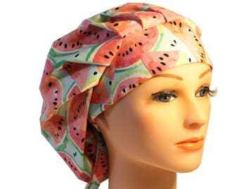 Medical Scrub Cap Surgical Hat Tie Back Bouffant Watermelon 2nd Item Ships FREE