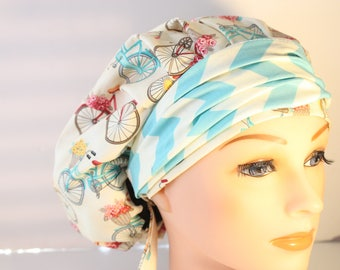 Scrub Cap Surgical Medical Chemo Chef Vet Doctor Nurse Hat Banded Bouffant Tie Back Antique Bicycles Chevron Band 2nd Item Ships FREE