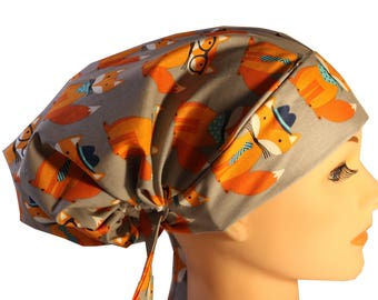 Scrub Hat Cap Chemo Bad Hair Day Hat  European BOHO Pixie  Fox Orange Grey Foxy Glasses Hats  2nd Item Ships FREE