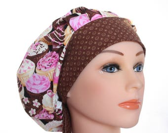 Scrub Cap Surgical Hat Chef Dentist Hat Tie Back Bouffant Pink Ribbon Cupcakes 2nd Item Ships FREE