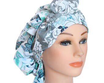 Scrub Cap Surgical Medical Chemo Chef Vet Doctor Nurse Hat Banded Bouffant Tie Back Denim Blue Floral Grey Damask Tie 2nd Item Ships FREE