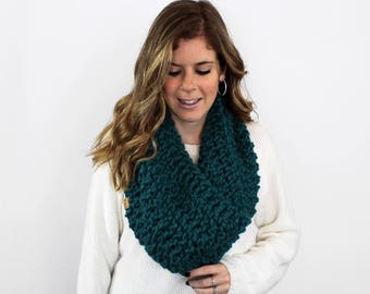 Chunky Knit Cowl Scarf Peacock- Anacostia Cowl