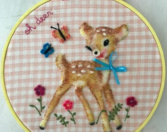 Kitsch Retro Vintage Inspired Baby Deer Embroidery Hoop Wall Art, Felt Wall Art , New Home  Baby Gift