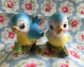 Vintage Kitsch Japan Norcrest Bluebird Blue Birds Ceramic Salt and Pepper Shakers - Adorable!