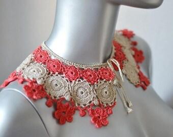 Crochet collar Lace collar   Cotton collar Crocheted collar Blouse collar Dress collar Handmade collar Crochet jewelry Coral collar