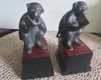 Pair of Monkey Brass Bookends Reading a Book.