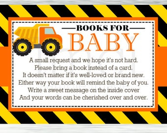 Construction Bring a Book Insert, Construction Baby Shower Book Request, Instant Download - Digital File