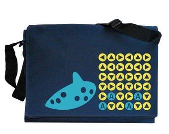 ON SALE Ocarina Songs Zelda inspired Navy Blue Messenger Shoulder Bag