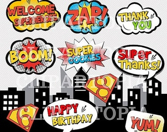 50% OFF SALE Superhero Text and Bubbles 2 clipart - comic book Personal and Commercial Use / INSTANT Download