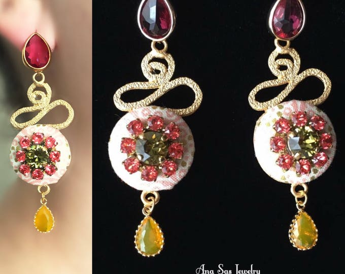 Statement gold and red rhinestone chandelier earrings
