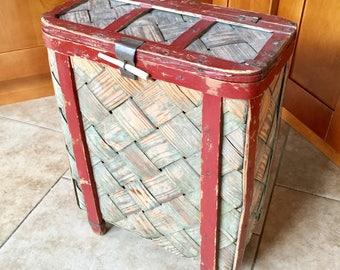 Antique Swedish Folk Art Pack Basket, Darlana, Sami