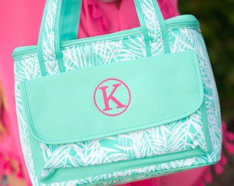 Palm Cooler Bag / Pink / Green / Personalized Cooler Tote / Insulated Beach Tote