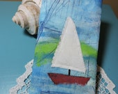 HAND PAINTED Cotton weave, Eyeglass/iPhone/large sunglasses cases, appliqued SAILBOAT