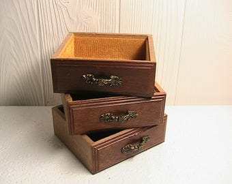 Drawers, Little Wooden Drawers, Set of 3, Metal Pulls