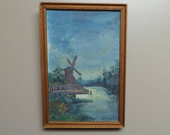 Vintage oil painting Windmill Holland Dutch dock watery blue gray greens marsh grass wood frame impressionist oil on canvas unsigned
