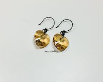 Golden Shadow Crystal Hearts Wrapped in Hematite, Crystal Heart Drop Earrings, Swarovski Heart Jewelry, Golden Shadow, Hematite Wired, Women