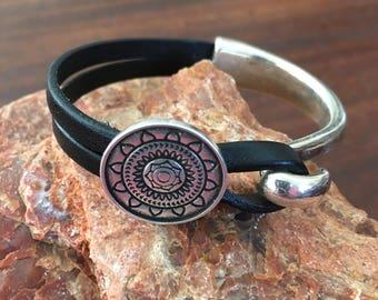 Handmade Black Italian Leather Cuff Bracelet With A Silver Sun Mandala  RM497