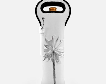 Unique Wine Tote, White Wine Carrier, Housewarming Gift, Shower Gift, Wedding Gift, Nature Photo Wine Bag, Winter Wine Gift Bag, Floral Tote