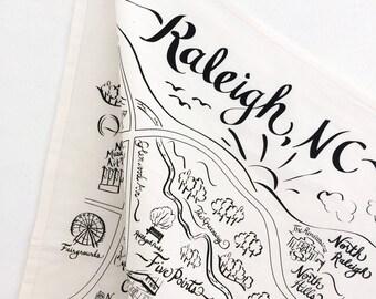 Raleigh Map Tea Towel