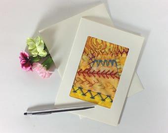 Crazy Quilt Greeting Card, Fiber Art Fabric Greeting Card, Hand Embroidered Greeting Card, Yellow Fabric Card, Handmade Card, Birthday