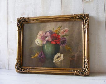 Antique French Watercolor Print of Anemones ,Signed Y.Chavannes ,in its original golden Frame.