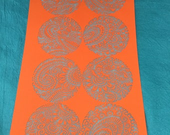 Silkscreen Paisley Garden Party 2 inch Circles