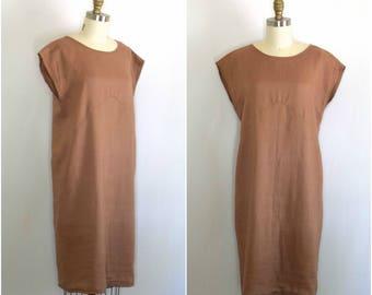Minimalist Linen Dress/ Neutral Shift Dress/ Modern Pinkish Dress/ Womens Size Small