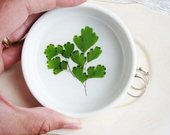 Fern Ring Dish, Leaf Bowl, Floral Dish, Ceramic Dish, Ring Dish, Green Leaf Bowl, Jewelry Organizer