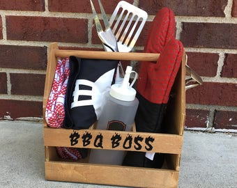 BBQ Boss Set! Fathers Day Gift, Guy Gift, Grill Set, Grill Accessories and Gift