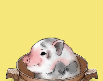 Pig in a casserole dish - A3 Poster