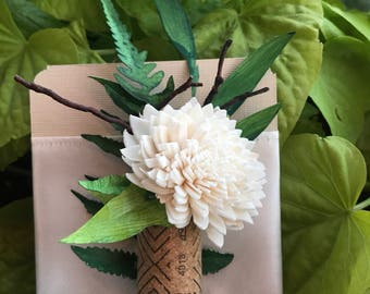Paper Leaf, Chrysanthemum and Cork Corsage - Option to Lease