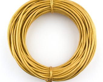 Gold Metallic Round Leather Cord 1mm 100 meters (109 yards)