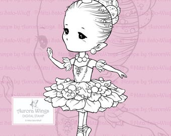 PNG Sugar Plum Sprite - Aurora Wings Digital Stamp - Christmas Holiday Fairy Image - Line Art for Arts and Crafts by Mitzi Sato-Wiuff