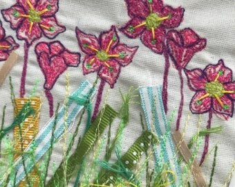 Floral pinks textile art