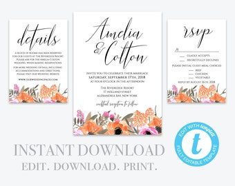 Editable Wedding Invitation Template, Printable Wedding Invitation, Wedding Invitation Printable, Invitation Set,  Editable Invite Template