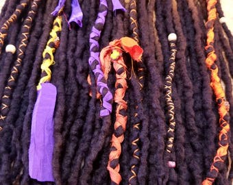 Wool Dreads Handmade Hair Extensions Wool Dreads Ombre Hair Accessories Set of 60