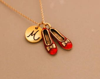 Red shoes necklace, red slipper necklace, personalized infinity necklace, friendship jewelry,Monogrammed Necklace, wizard oz necklace