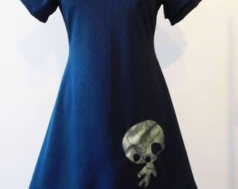 small snowman blue jersey dress