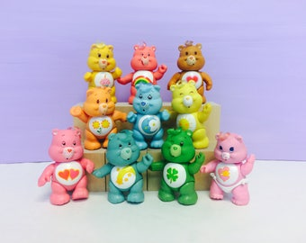 Care Bears Poseable Figure, Care Bear PVC, 1980s Toys, Cute 1980s Care Bears Toys, Funshine Bear, Good Luck Bear, Friend Bear, Birthday Bear
