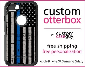 Law Enforcement OtterBox Defender / Apple iPhone OR Samsung Galaxy / Thin Blue Line / Custom Personalized Monogrammed / Any Color / Any Font