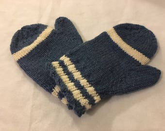 Blue Knitted Mittens