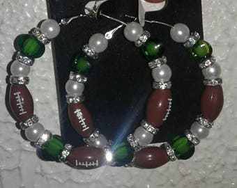 Green and white Football earrings