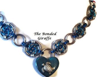 Euphoria weave in Gunmetal and Blue with Sea Turtle Lock